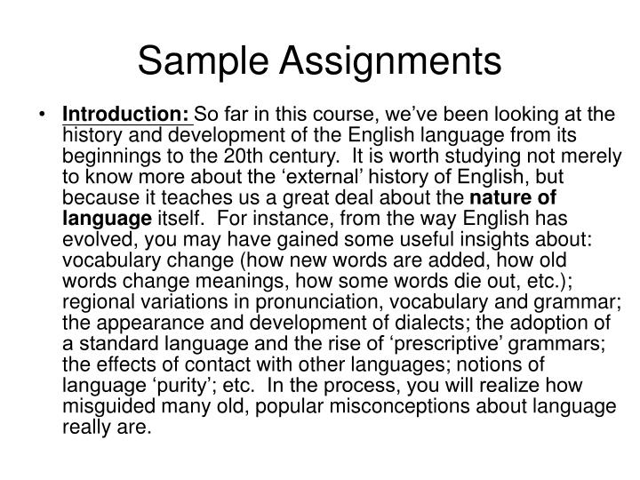 Sample Assignments