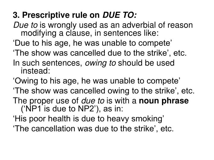 3. Prescriptive rule on