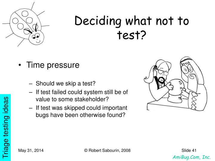 Deciding what not to test?
