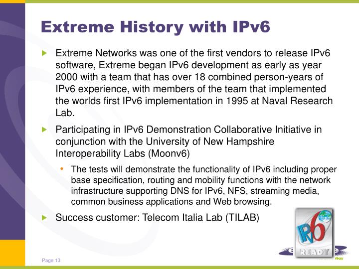 Extreme History with IPv6