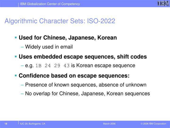 Algorithmic Character Sets: ISO-2022