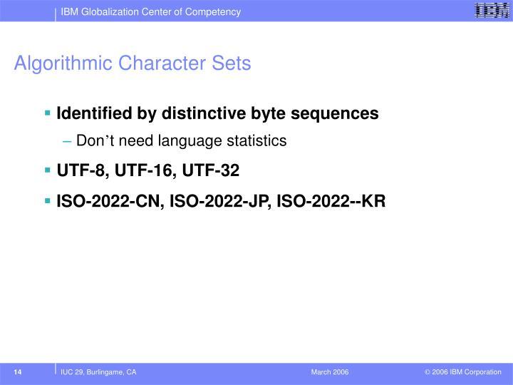 Algorithmic Character Sets