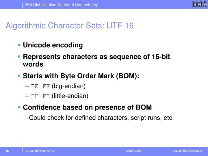 Algorithmic Character Sets: UTF-16