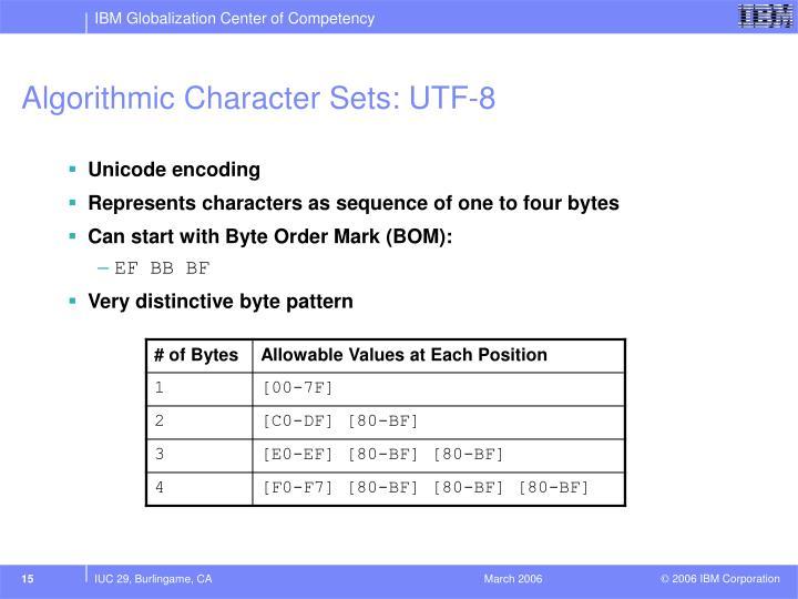 Algorithmic Character Sets: UTF-8