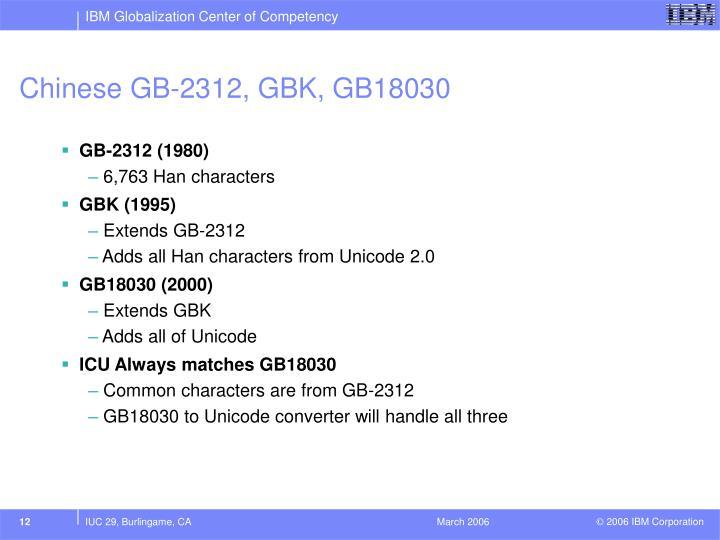Chinese GB-2312, GBK, GB18030