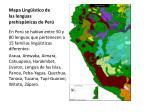 mapa ling stico de las lenguas prehisp nicas de per