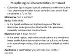 morphological characteristics continued