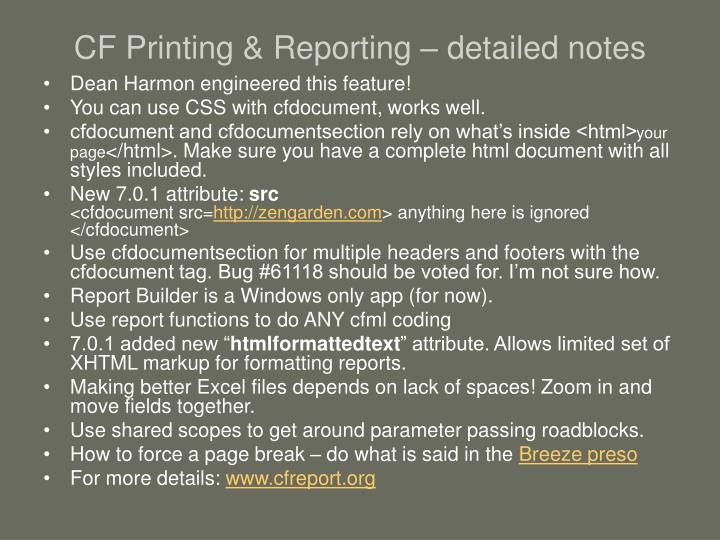CF Printing & Reporting – detailed notes