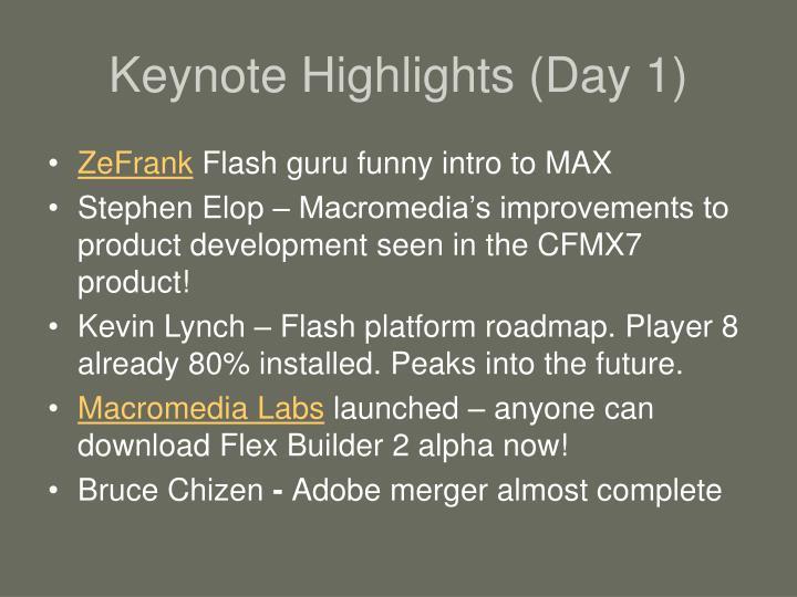 Keynote highlights day 1