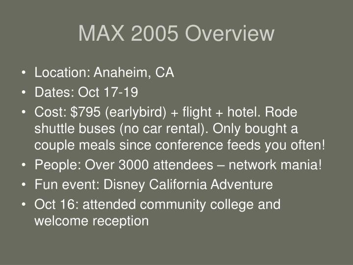 Max 2005 overview