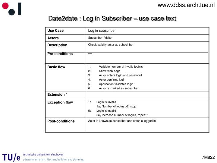 Date2date : Log in Subscriber – use case text