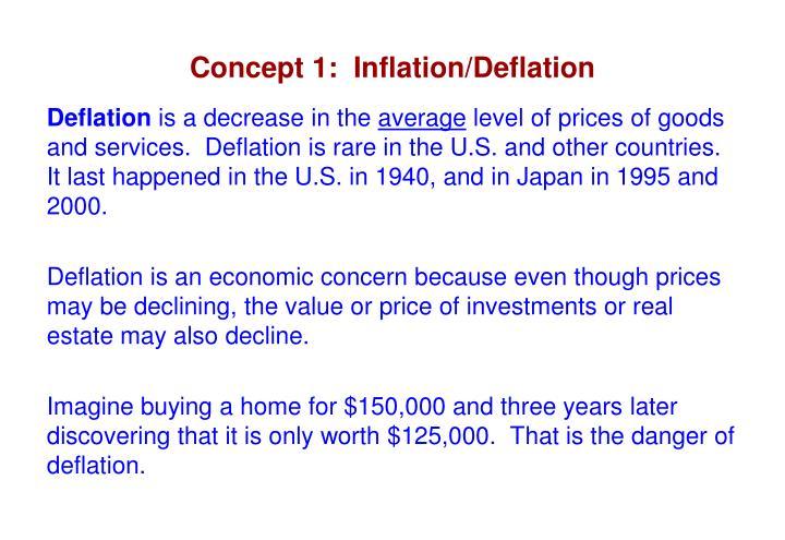 Concept 1:  Inflation/Deflation