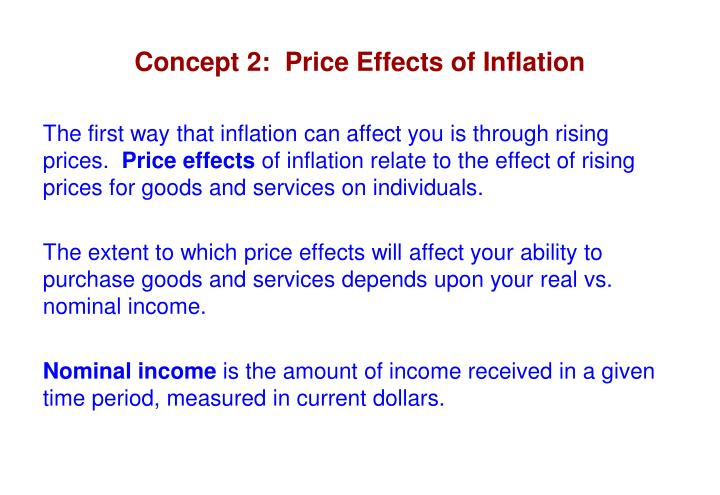 Concept 2:  Price Effects of Inflation