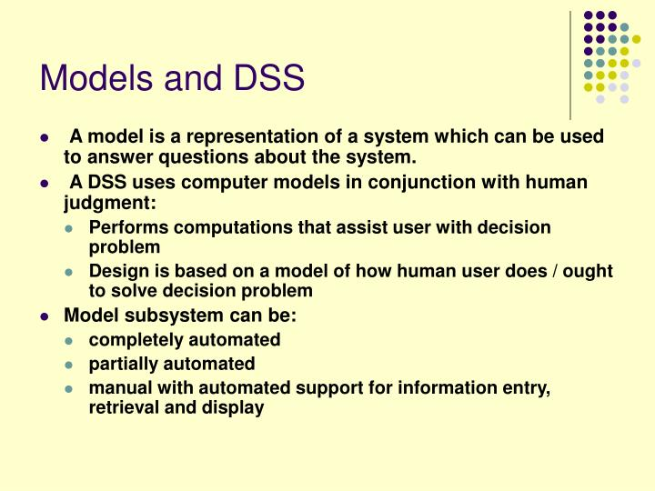 Models and DSS