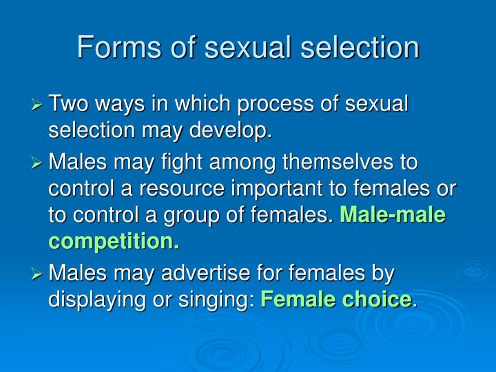 Forms of sexual selection