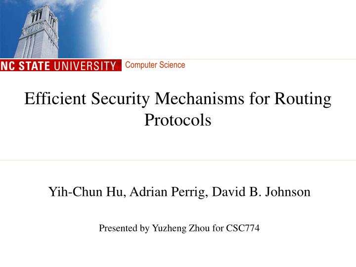 efficient security mechanisms for routing protocols n.