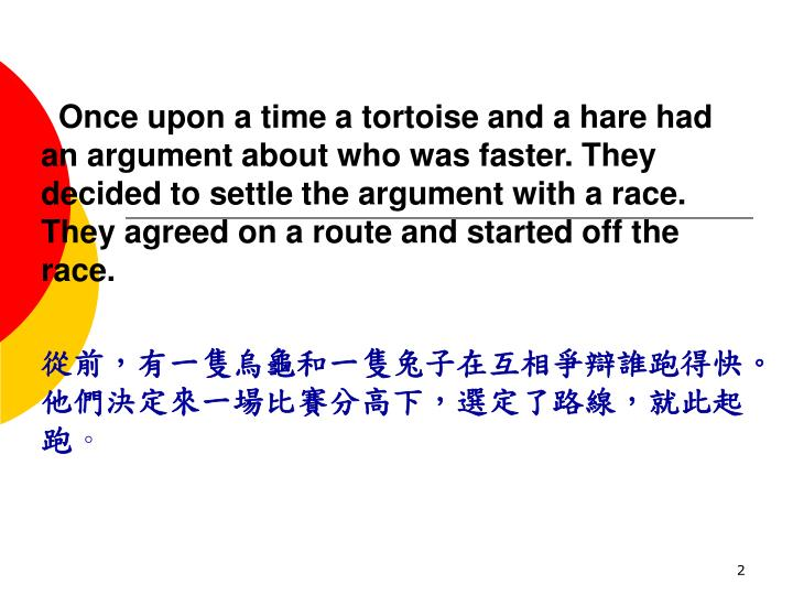 Once upon a time a tortoise and a hare had an argument about who was faster. They decided to settl...