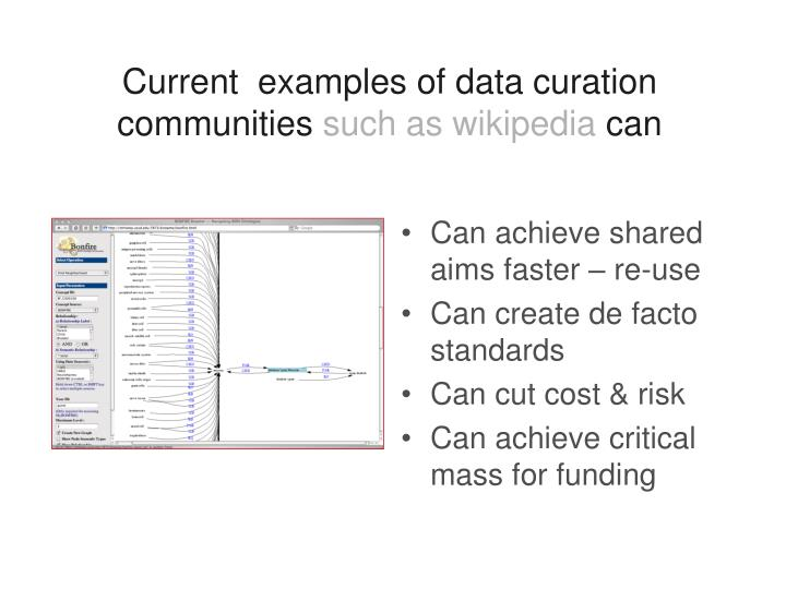 Current  examples of data curation communities