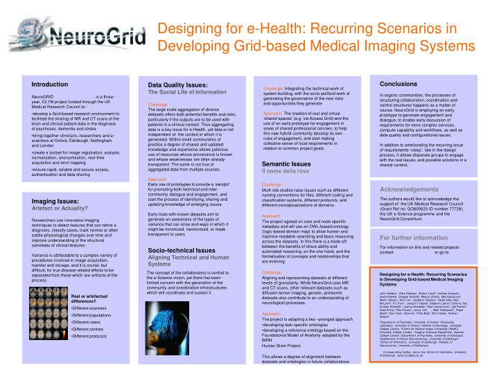 Designing for e-Health: Recurring Scenarios in Developing Grid-based Medical Imaging Systems