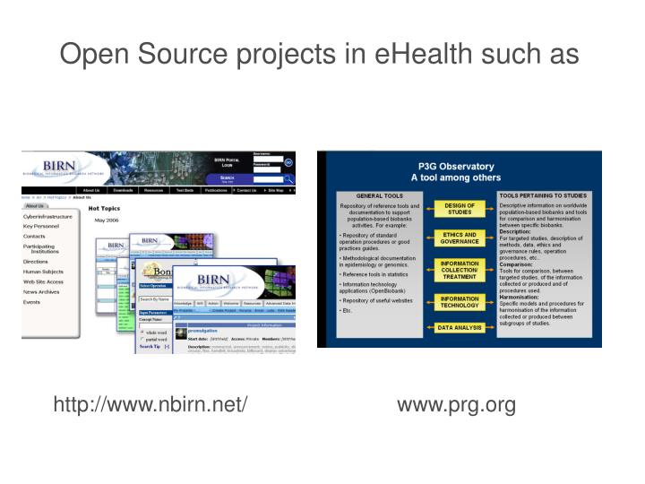 Open Source projects in eHealth such as