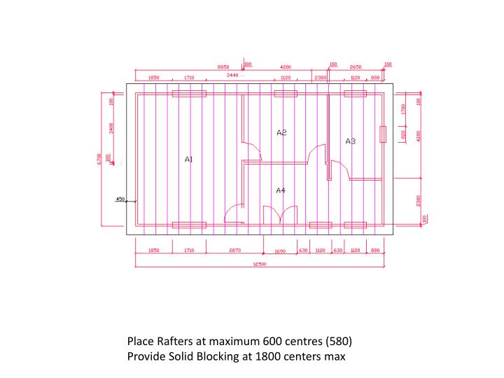Place Rafters at maximum 600 centres (580)