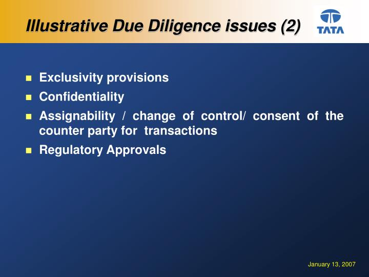 Illustrative Due Diligence issues (2)
