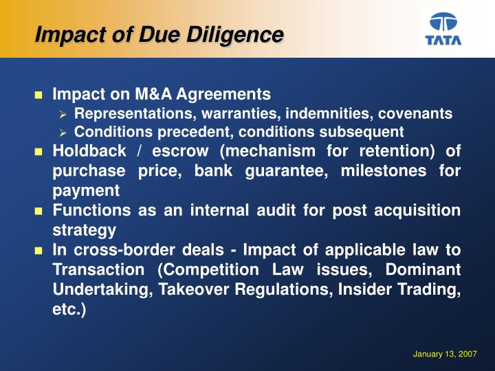 Impact of Due Diligence