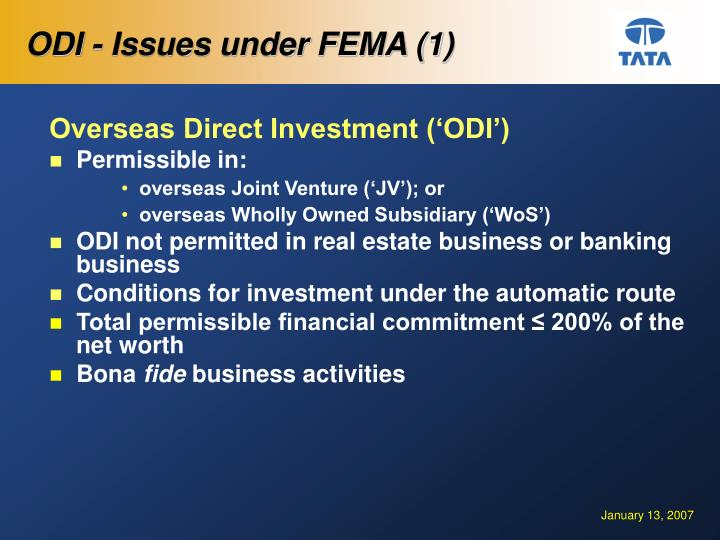 ODI - Issues under FEMA (1)