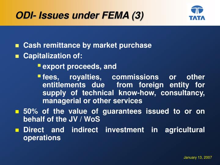 ODI- Issues under FEMA (3)