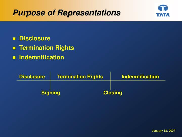 Purpose of Representations