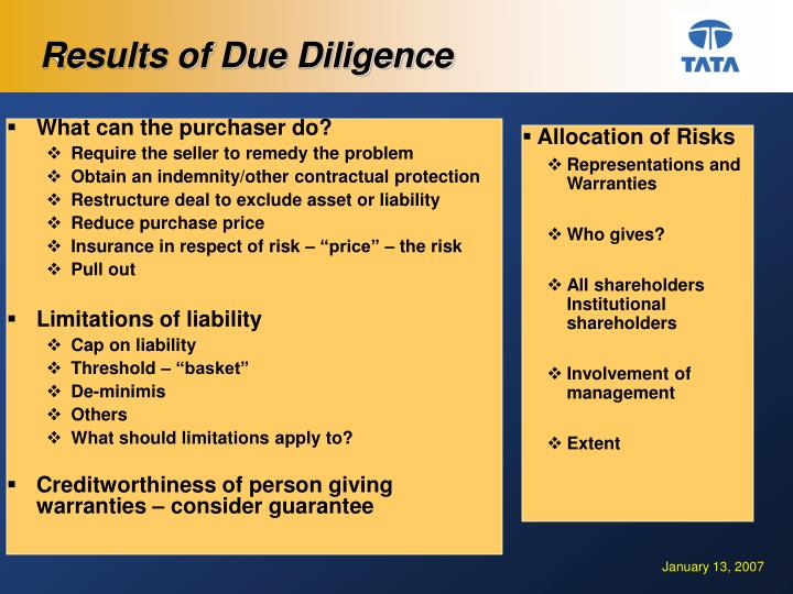 Results of Due Diligence