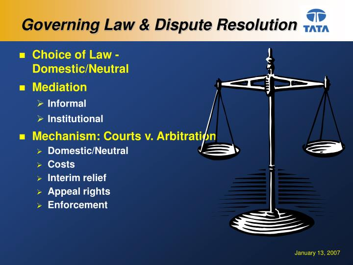 Governing Law & Dispute Resolution