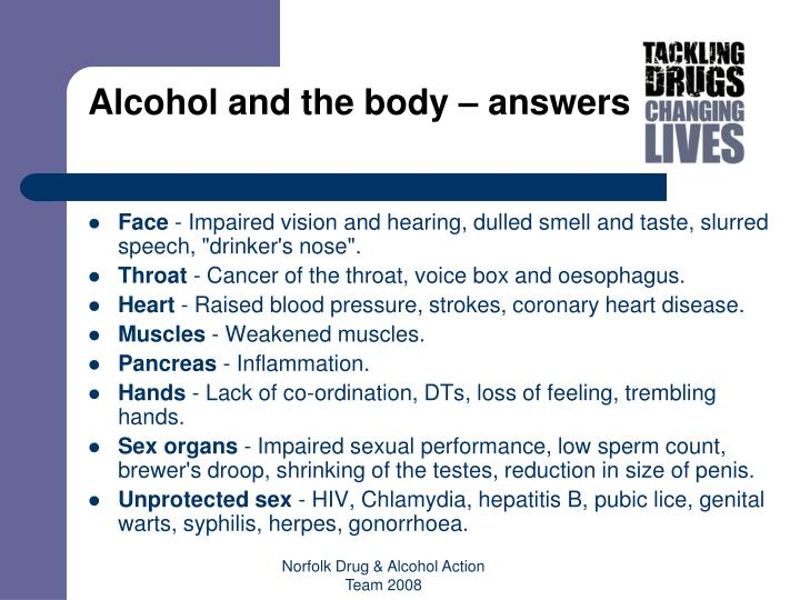 Alcohol and the body – answers