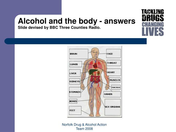 Alcohol and the body - answers