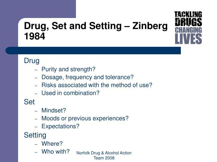 Drug, Set and Setting – Zinberg 1984