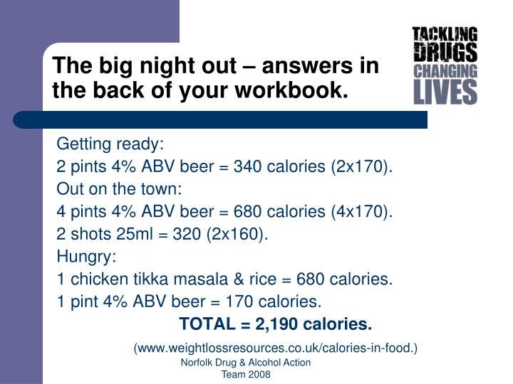 The big night out – answers in the back of your workbook.