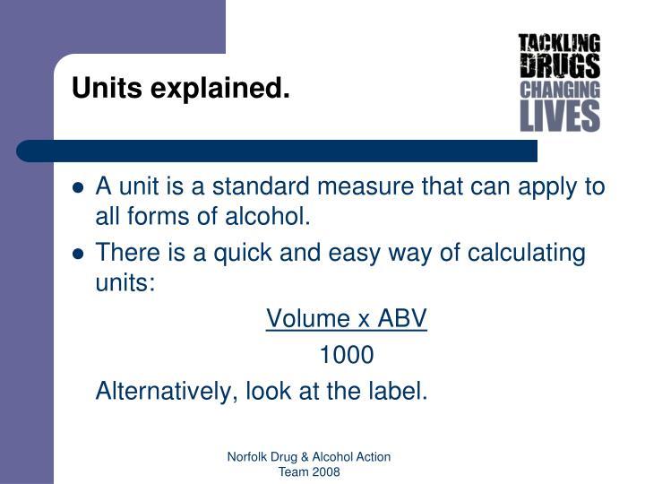Units explained.