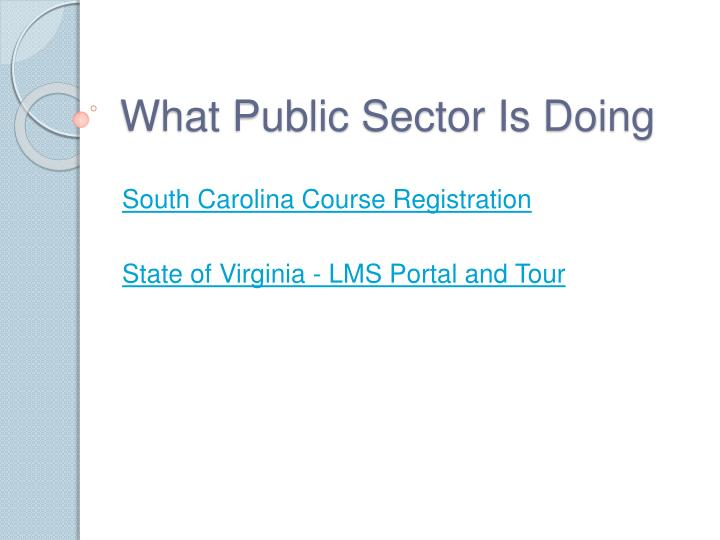 What Public Sector Is Doing