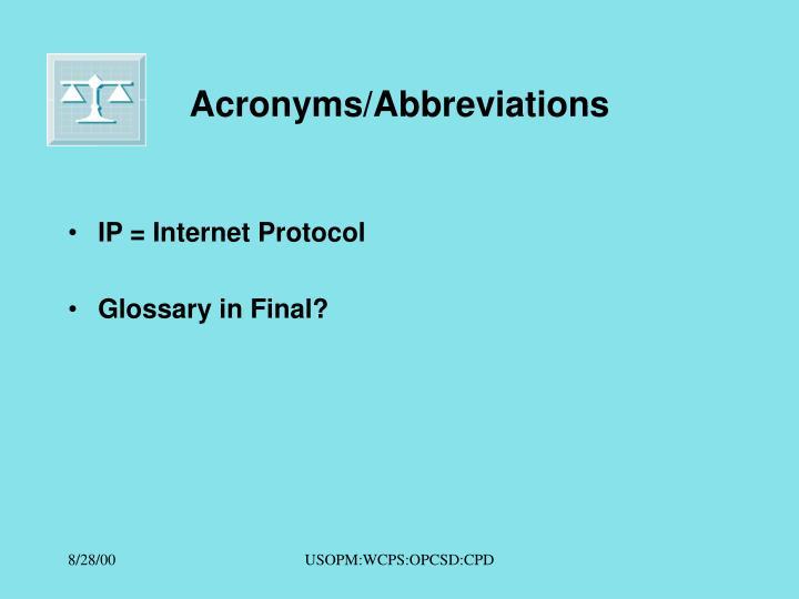 Acronyms/Abbreviations