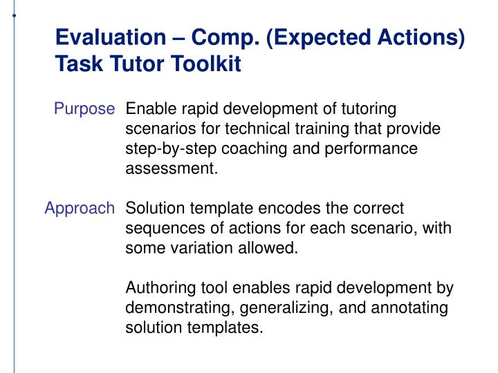 Evaluation – Comp. (Expected Actions)