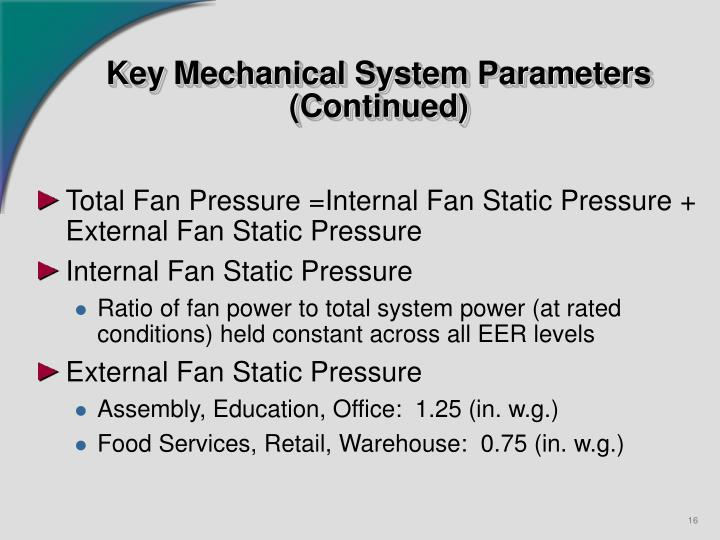 Key Mechanical System Parameters  (Continued)