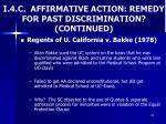 i 4 c affirmative action remedy for past discrimination continued
