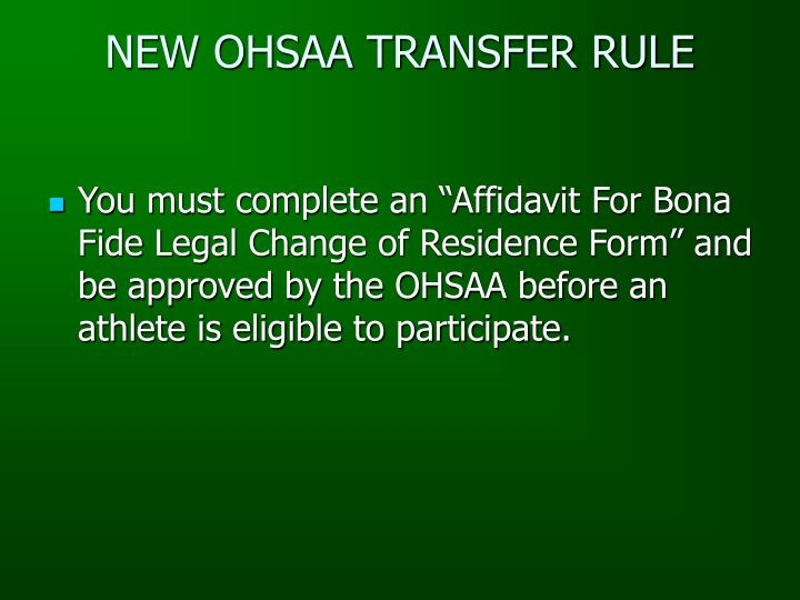 NEW OHSAA TRANSFER RULE