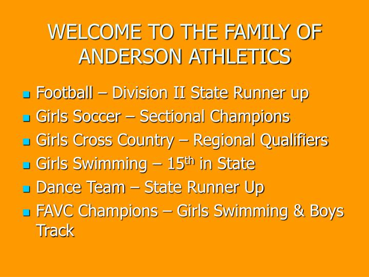 Welcome to the family of anderson athletics