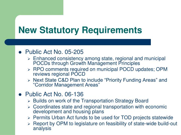 New statutory requirements
