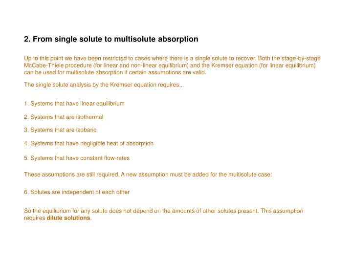 2. From single solute to multisolute absorption