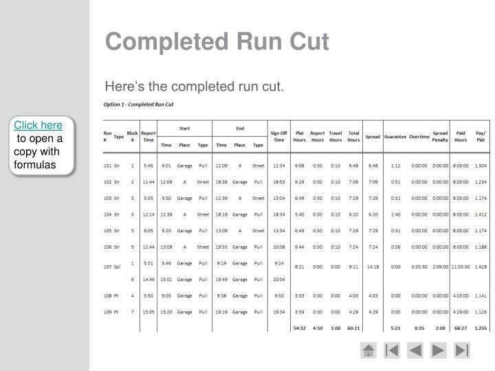 Completed Run Cut