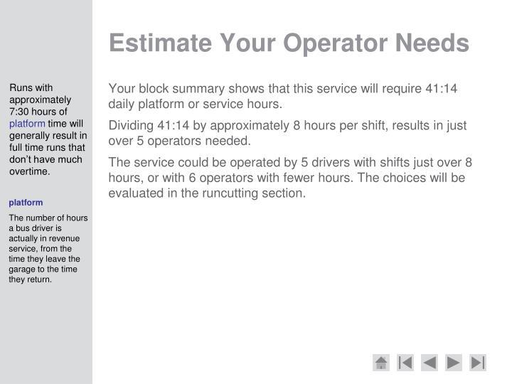 Estimate Your Operator Needs