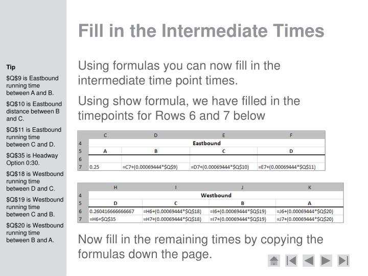 Fill in the Intermediate Times