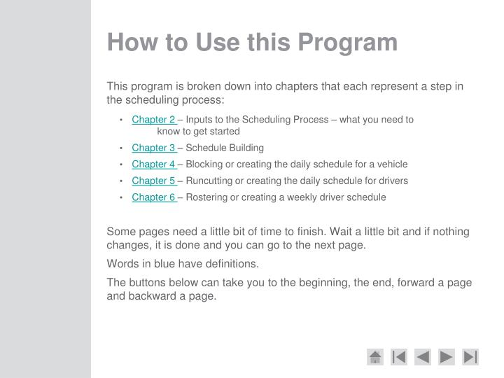 How to Use this Program